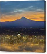 Foggy Portland City Downtown At Dawn Canvas Print