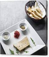 Foie Gras French Traditional Duck Pate With Bread  Canvas Print