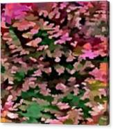 Foliage Abstract In Pink, Peach And Green Canvas Print