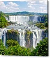 Foliage In And Around Waterfalls In Iguazu Falls National Park-brazil  Canvas Print