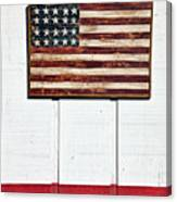 Folk Art American Flag On Wooden Wall Canvas Print
