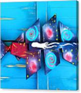 Folk Art Galactic Space Fish Canvas Print