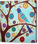 Folk Bird In Tree Canvas Print