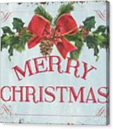 Folk Merry Christmas Canvas Print
