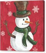 Folk Snowman Canvas Print