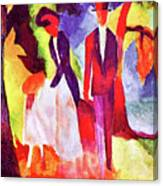 Folks At The Blue Sea By August Macke Canvas Print