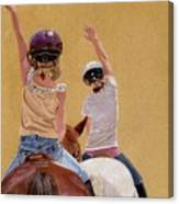 Follow The Leader - Horseback Riding Lesson Painting Canvas Print