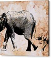 Following Mum - Mother And Baby Elephant Animal Decorative Poster  4 - By Diana Van Canvas Print
