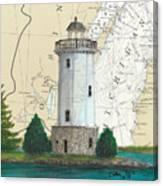 Fon Du Lac Lighthouse Wi Nautical Chart Map Map Canvas Print
