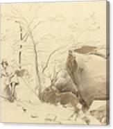 Fontainebleau, Figure Leaning Against A Rock Canvas Print