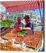 Food Booth In Valparaiso Square-chile Canvas Print