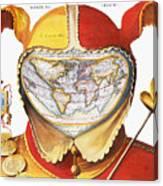 Fools Cap World Map, C1590 Canvas Print
