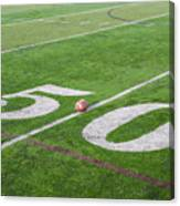 Football On The 50 Yard Line Canvas Print