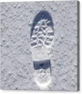 Footprint In Snow Canvas Print
