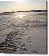 Footsteps In Frozen Landscape Canvas Print