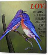 For Love Of Bluebirds And Scripture Canvas Print