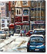 For Sale Original Paintings Montreal Petits Formats A Vendre Downtown Montreal Rue Stanley Cspandau  Canvas Print