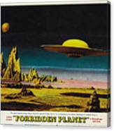 Forbidden Planet In Cinemascope Retro Classic Movie Poster Detailing Flying Saucer Canvas Print