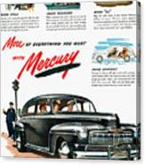 Ford Mercury Ad, 1946 Canvas Print