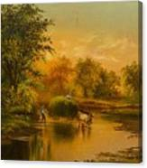 Fording The Stream Canvas Print
