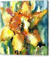 Forest Daffodil In Rain Canvas Print