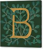 Forest Leaves Letter B Canvas Print