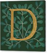 Forest Leaves Letter D Canvas Print
