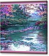 Forest River Scene. L B With Decorative Ornate Printed Frame. Canvas Print