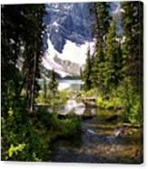Forest View To Mountain Lake Canvas Print