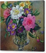 Forget Me Nots And Primulas In Glass Vase Canvas Print