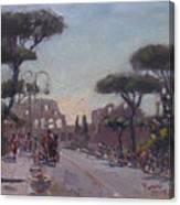 Fori Romani - Street To Colosseo Canvas Print