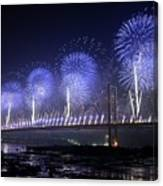 Forth Road Bridge Fireworks Canvas Print