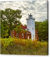 Forty Mile Point Lighthouse Lake Huron Lower Peninsilat Mi  Canvas Print