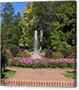 Fountain Among Flowers Canvas Print