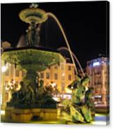 Fountain In Rossio Square Canvas Print