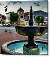 Fountain In Small Town Canvas Print