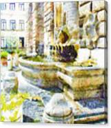 Fountain On The Facade Of The Municipality Canvas Print