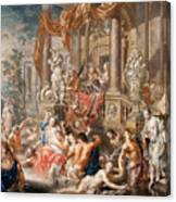Fountain Scene In Front Of A Palace Canvas Print