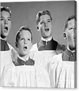 Four Choir Boys Singing, C.1950-60s Canvas Print