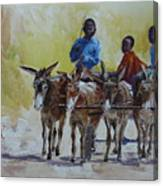 Four Donkey Drawn Cart Canvas Print