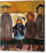 Four Girls In Asgardstrand Canvas Print