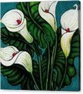 Four Long Lilies Canvas Print