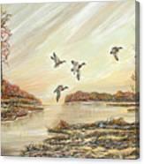 Four Mallards Over Autumn Lake Canvas Print