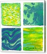 Four Squares Blue, Green, Yellow Canvas Print