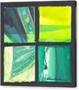 Four Squares Green, Yellow Green, Black Canvas Print