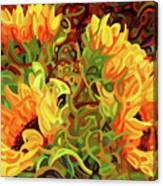 Four Sunflowers Canvas Print