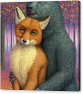 Fox And Bear Couple Canvas Print