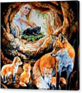 Fox Family Addition Canvas Print