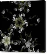 Fractal Floral Pattern Black Canvas Print