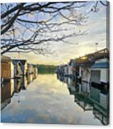 Framed Boathouses Canvas Print
